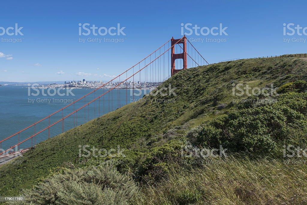 Golden Gate Bridge on Hillside royalty-free stock photo