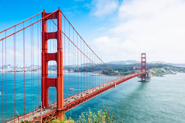 Golden Gate Bridge Golden Gate bridge with beautiful sky golden gate bridge stock pictures, royalty-free photos & images