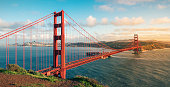 The Golden Gate Bridge, standing on the Golden Gate Strait in San Francisco, California, USA, is one of the world's famous bridges and a miracle of modern bridge engineering