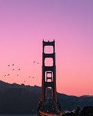 Golden Gate Bridge during golden hour.