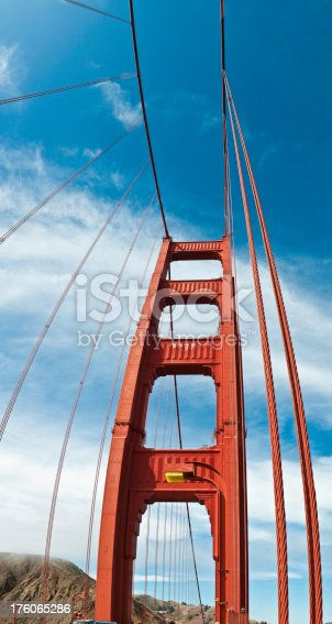 1030949292 istock photo Golden Gate Bridge red tower vertical panorama San Francisco 176065286