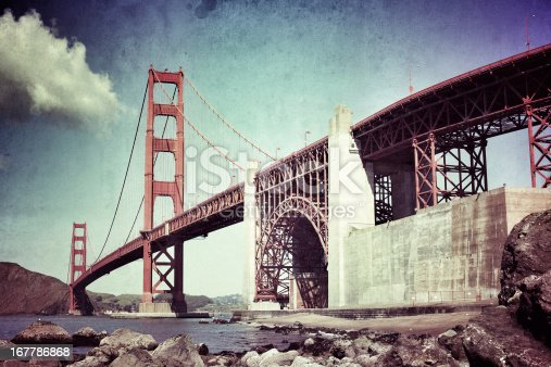 Golden Gate Bridge. Texture and grain added for the retro look.