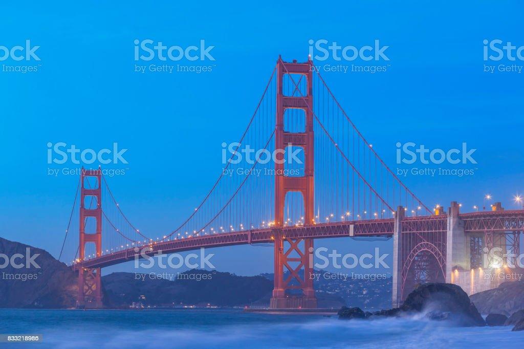 Golden Gate Bridge San Francisco at blue dawn stock photo