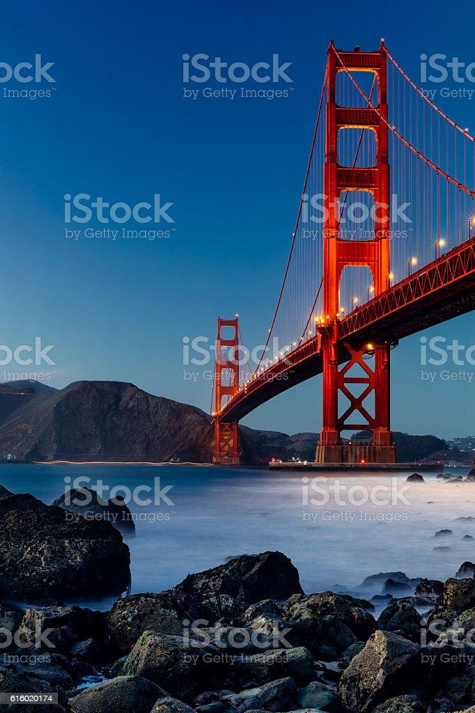 Golden Gate Bridge, San Francisco, at sunset stock photo