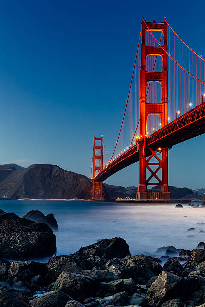 Golden Gate Bridge, San Francisco, at sunset Golden Gate Bridge, San Francisco at dusk golden gate bridge stock pictures, royalty-free photos & images