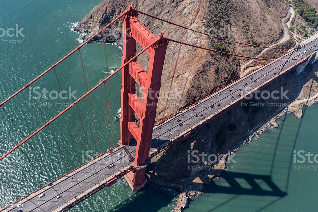 Golden Gate Bridge San Francisco Bay Aerial stock photo