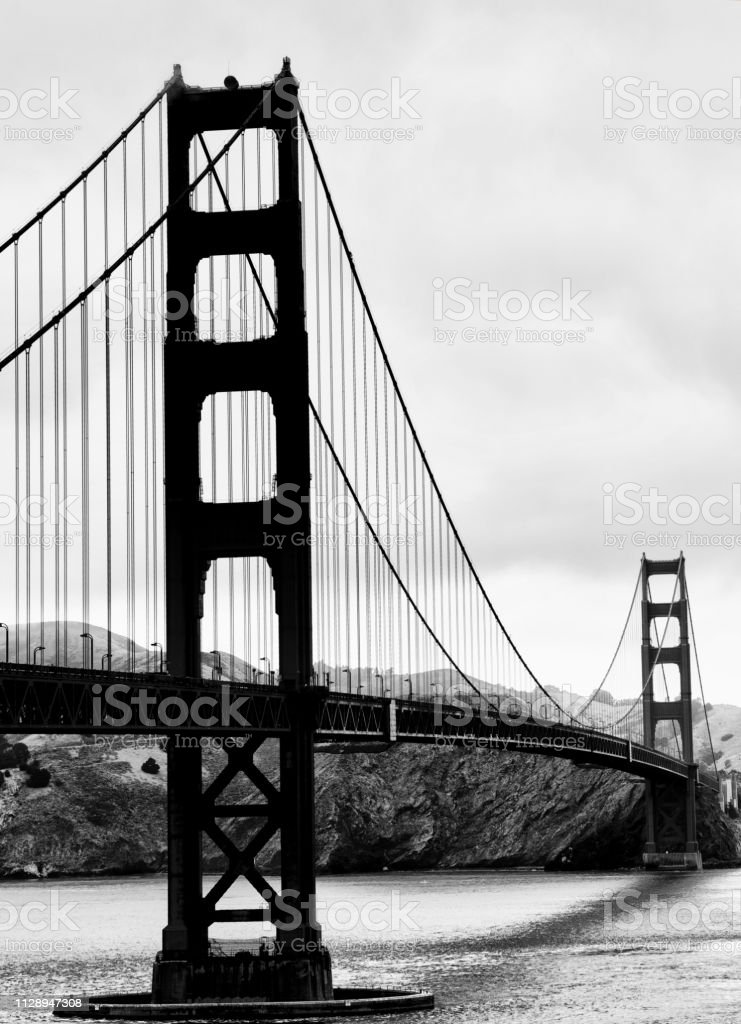 Golden Gate Bridge San Francisco Black And White Stock Photo