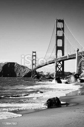 Golden Gate Bridge, San Francisco. Black And White