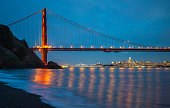 Golden Gate Bridge San Francisco California Night view from Kirby beach at night time with long exposure
