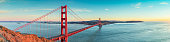 Golden Gate bridge after sunset panorama, San Francisco California