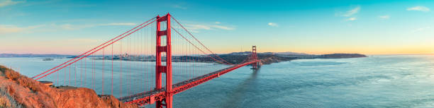 Golden Gate bridge, San Francisco California Golden Gate bridge after sunset panorama, San Francisco California golden gate bridge stock pictures, royalty-free photos & images