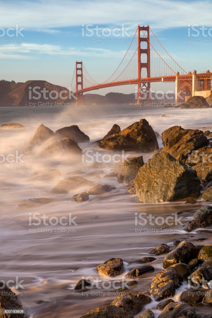 Golden Gate Bridge San Francisco panorama long exposure stock photo
