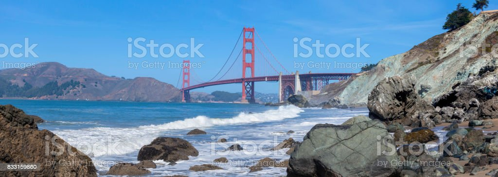 Golden Gate Bridge San Francisco panorama with blue sky stock photo