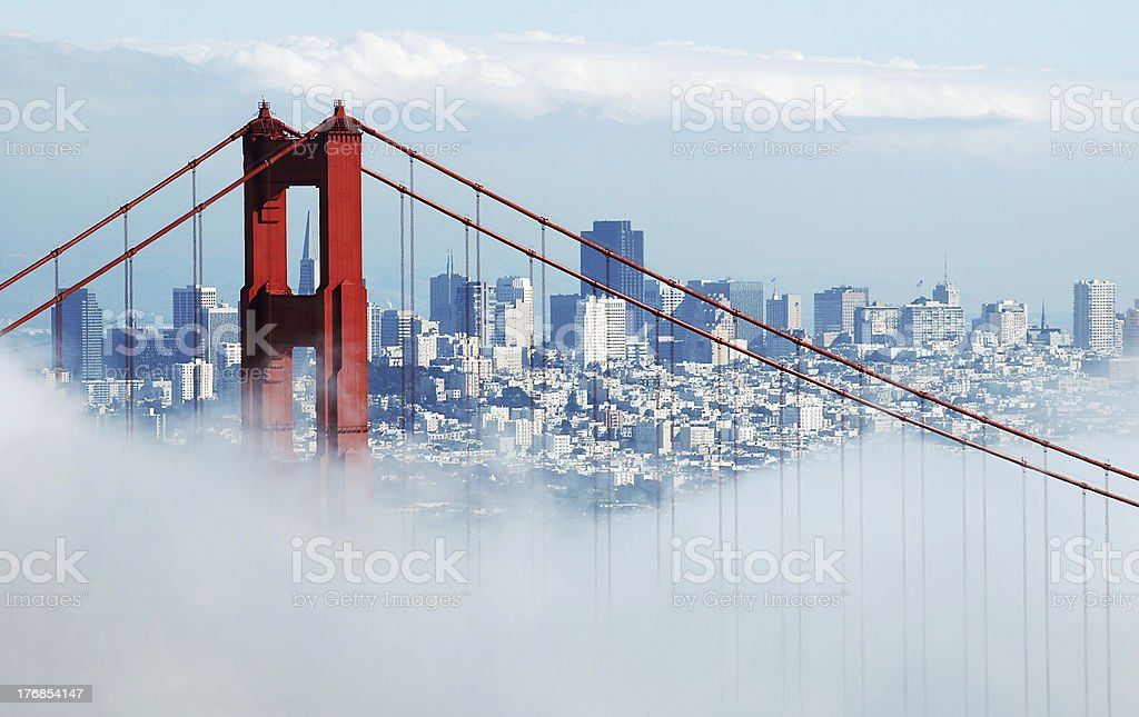 Golden Gate Bridge, San Francisco under cloud of fog stock photo