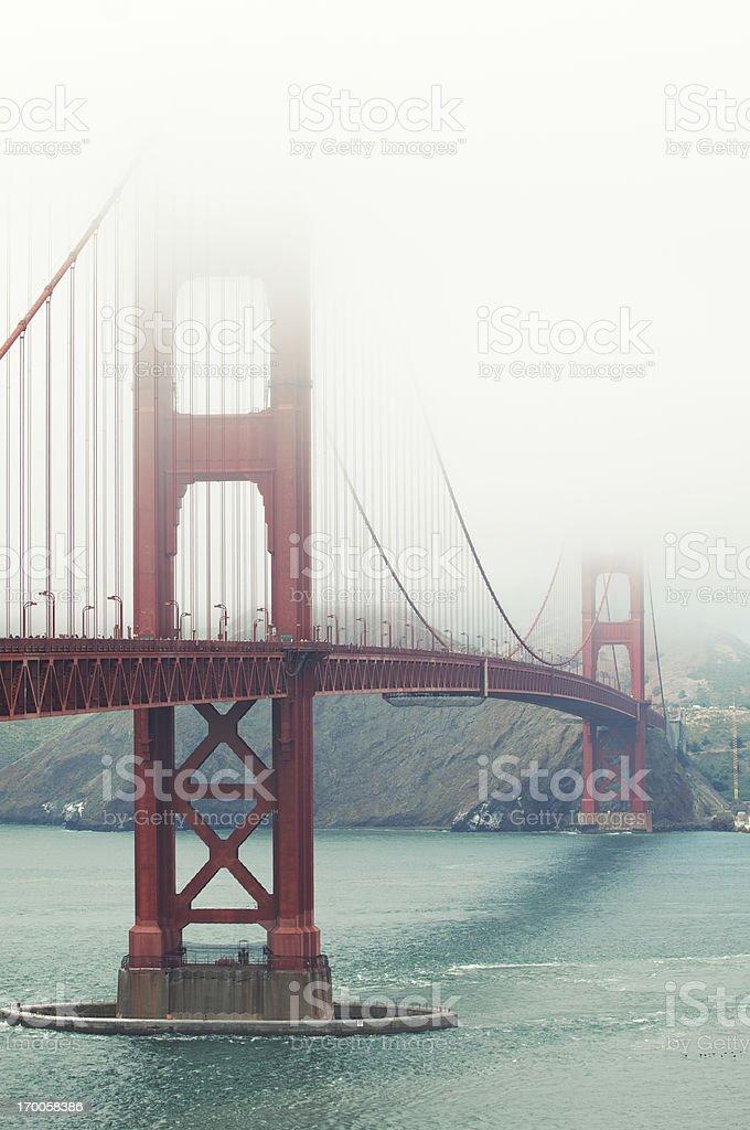 Golden Gate Bridge San Francisco with Fog Vertical stock photo