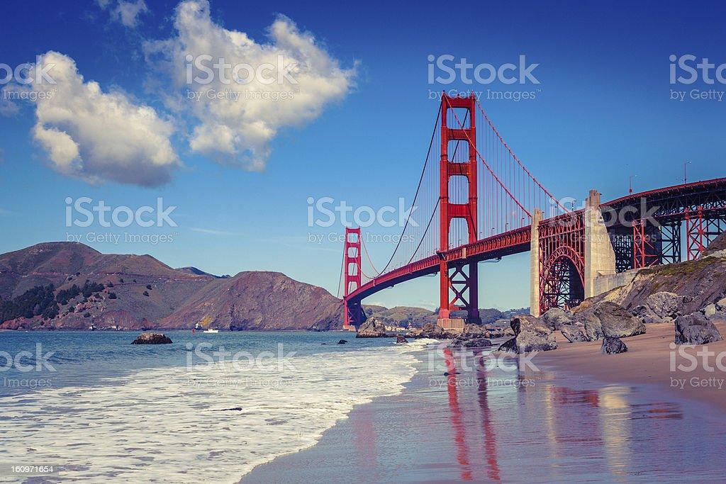 Golden Gate Bridge seen from Baker Beach royalty-free stock photo