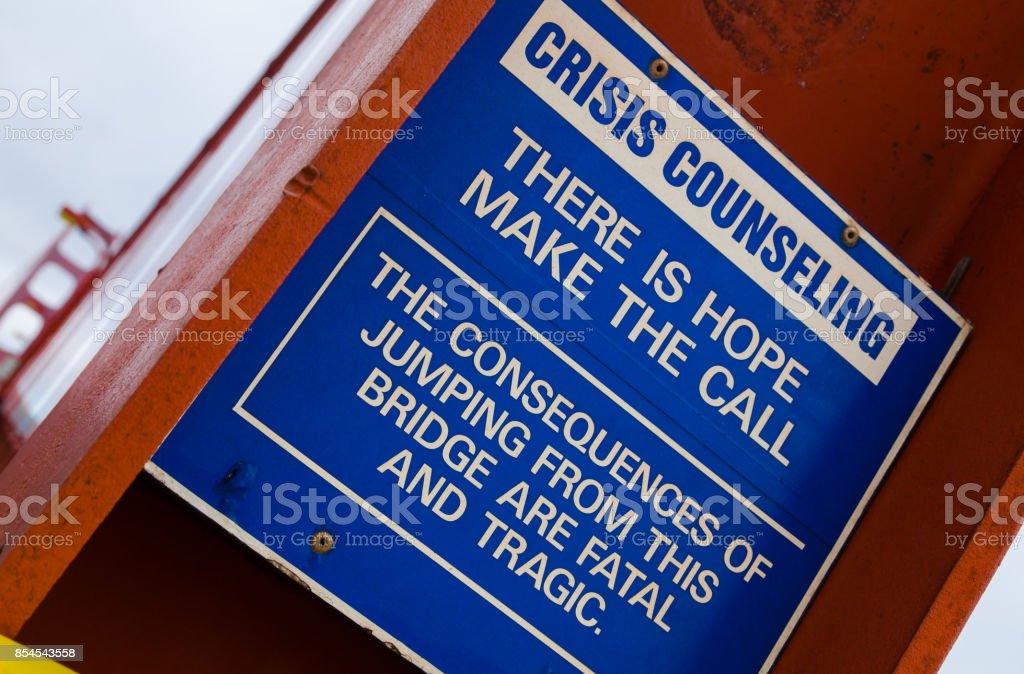 Golden Gate Bridge Suicide Prevention Sign stock photo