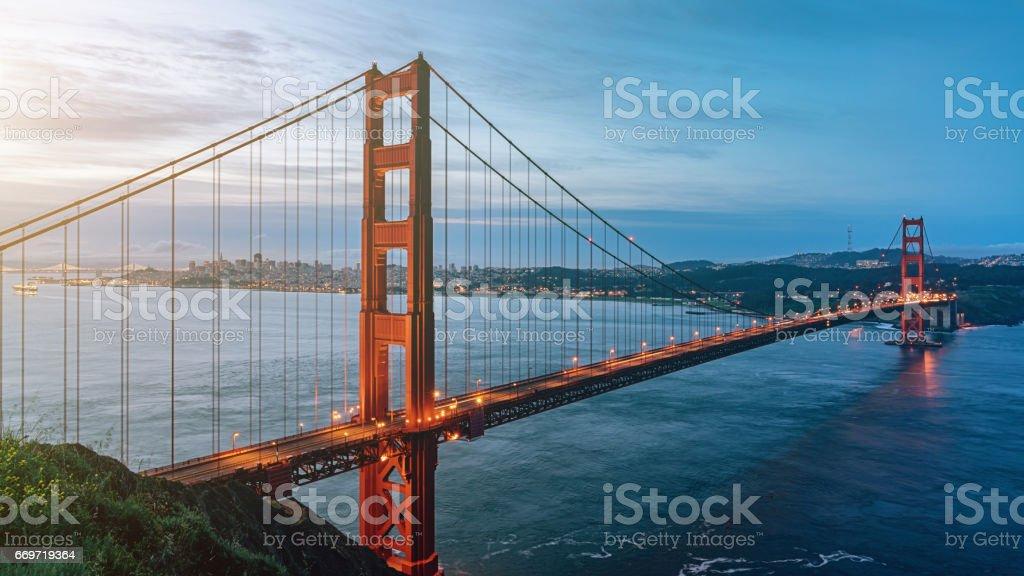Golden Gate Bridge Sunrise Panorama San Francisco California USA stock photo