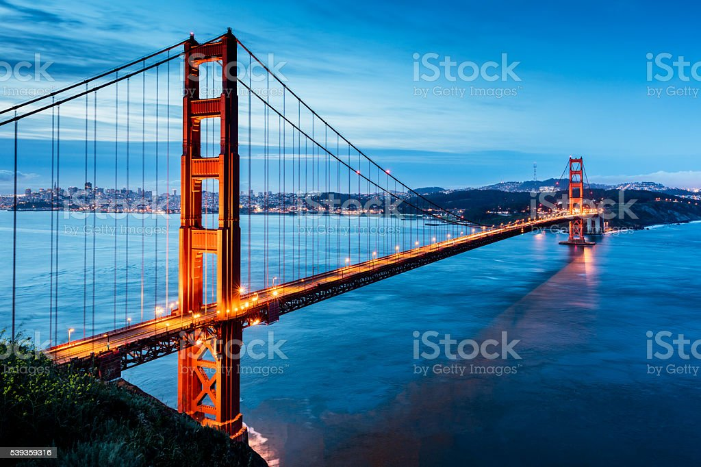 Golden Gate Bridge Sunrise San Francisco California USA stock photo