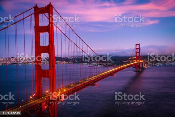 Photo of Golden Gate Bridge Sunset over San Francisco California long exposure blue hour sunset