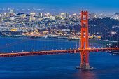 Golden Gate bridge in San Francisco California USA West Coast of Pacific Ocean Sunset Twilight