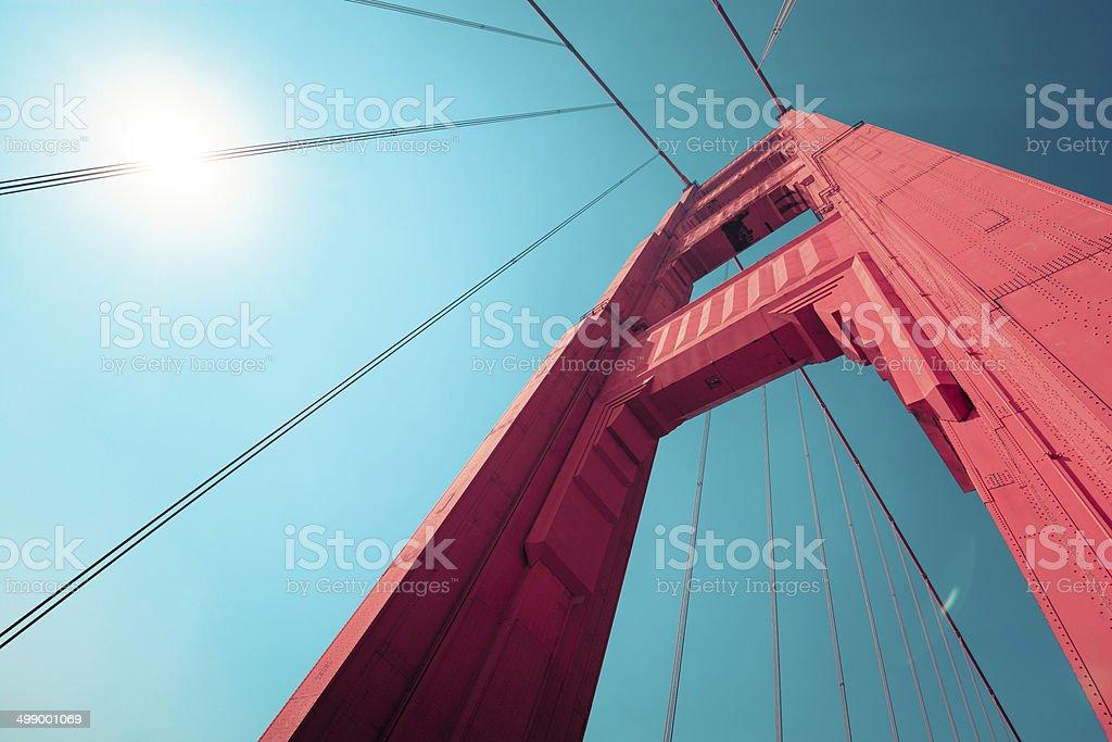Golden Gate Bridge tower in San Francisco, CA stock photo