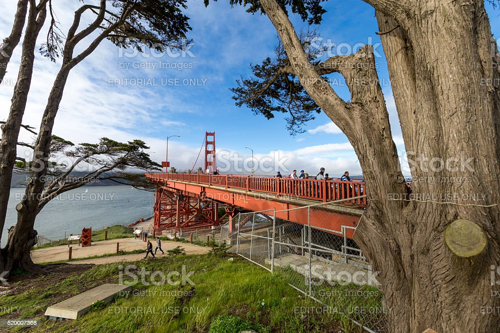 Golden Gate Bridge Tower under ultra wide angle , San Francisco stock photo