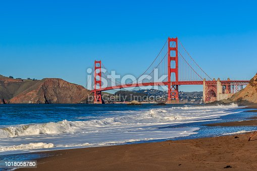 Golden Gate Bridge view from Baker Beach on a sunny day