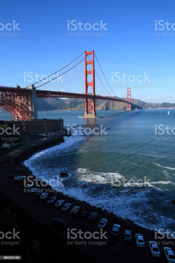 Golden Gate Bridge view from Fort Point stock photo