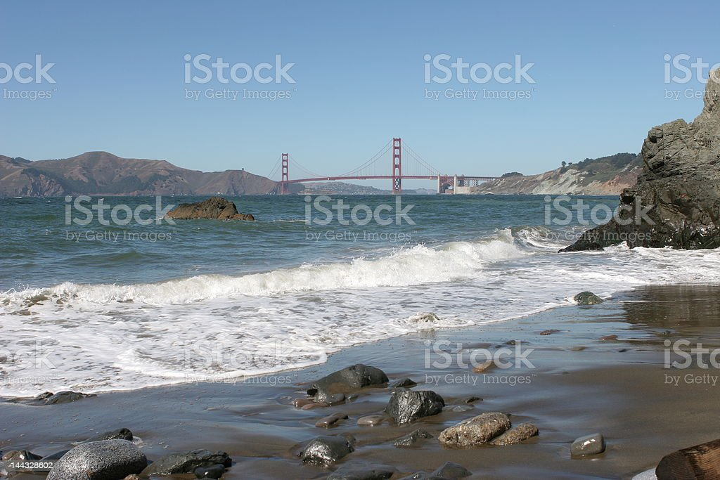 Golden Gate Bridge viewed from China Beach, San Francisco royalty-free stock photo