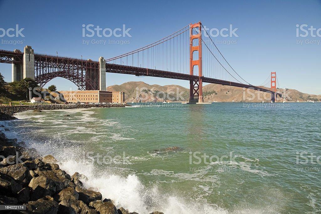 Golden Gate Bridge w the waves royalty-free stock photo