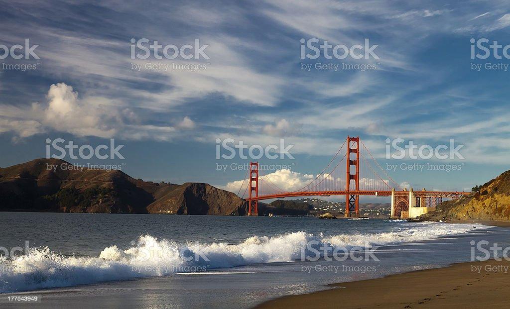 Golden Gate Bridge w the waves stock photo
