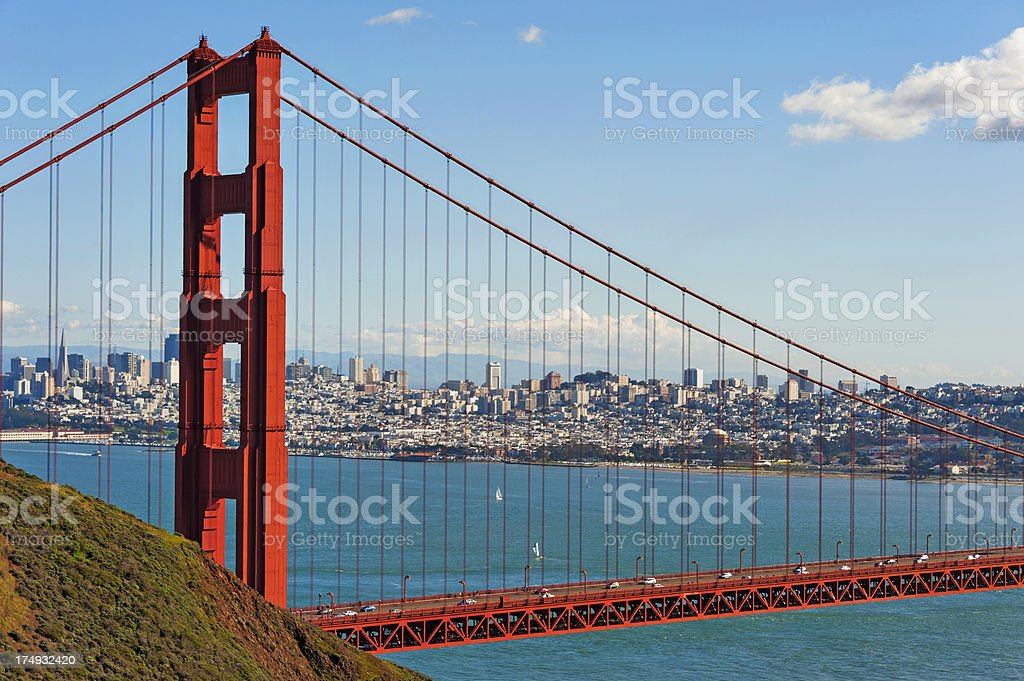 Golden Gate Bridge with City View royalty-free stock photo