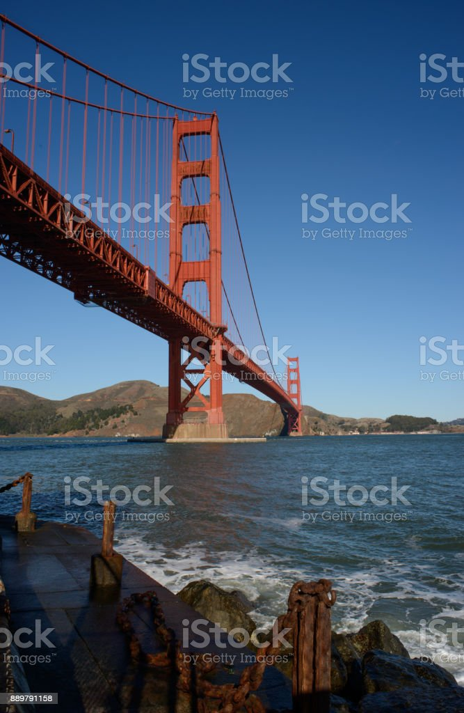 Golden Gate Bridge with Dock Foreground stock photo