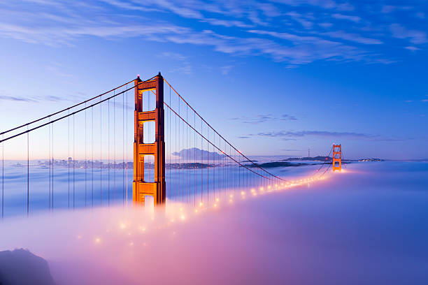 Golden Gate Bridge with Fog San Francisco stock photo