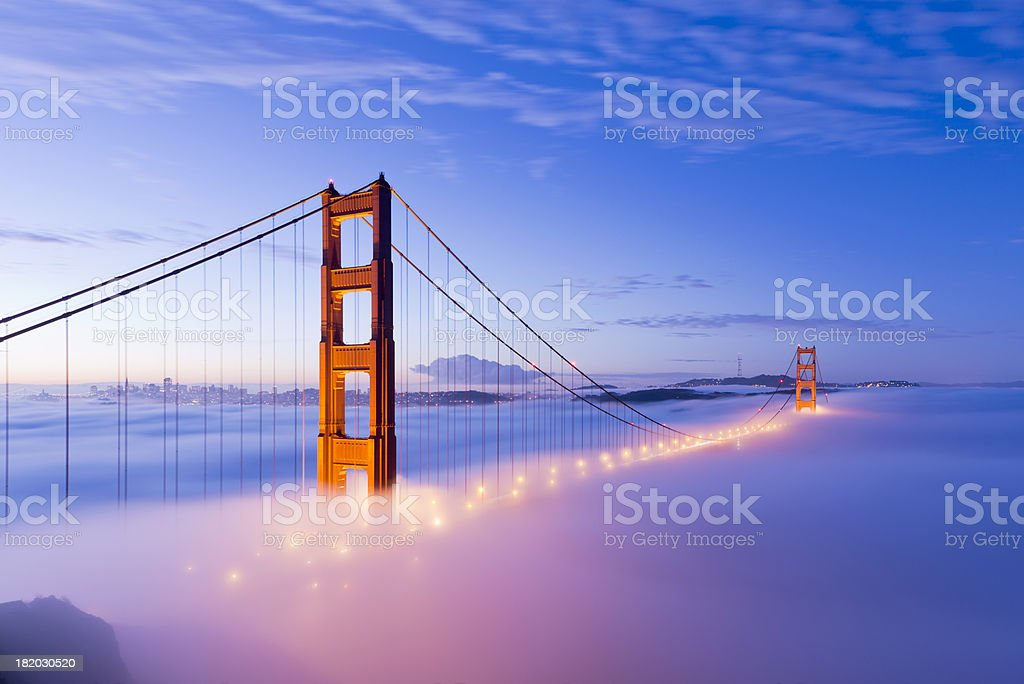 Golden Gate Bridge with Fog San Francisco stock photo