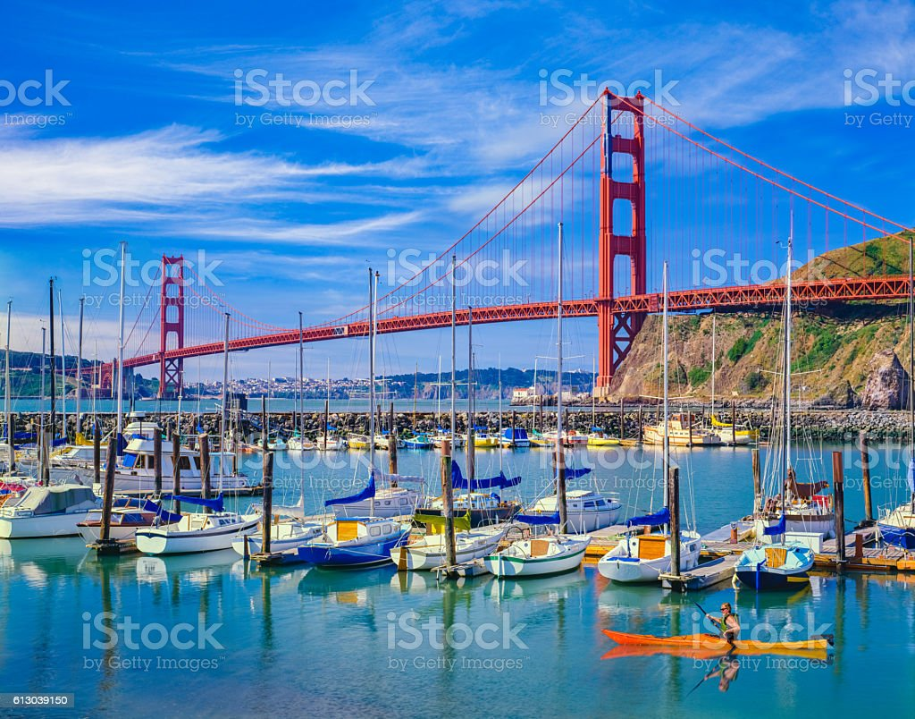 Golden Gate Bridge with recreational boats, CA stock photo