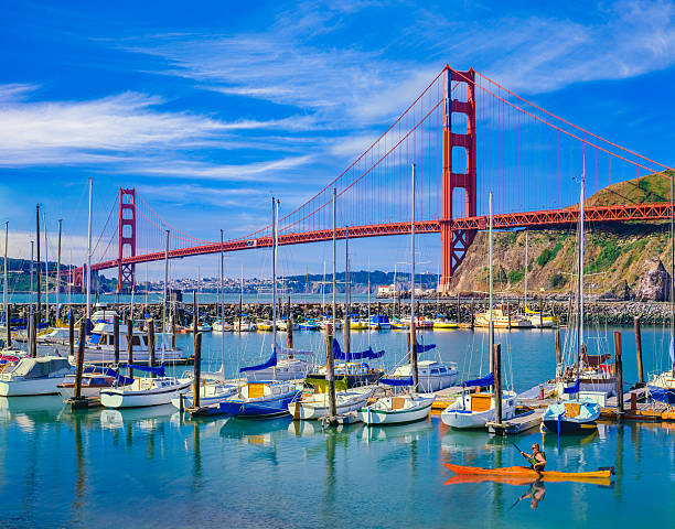 golden gate bridge with recreational boats, ca - international landmark stock photos and pictures