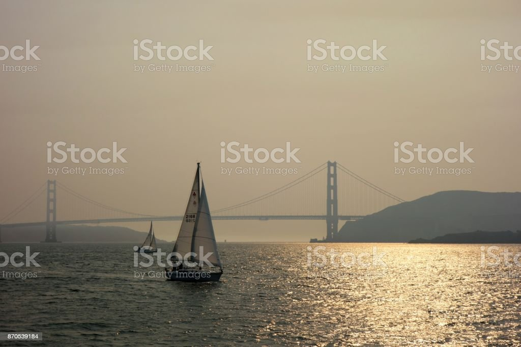 Golden Gate Bridge with Sailing Boat stock photo