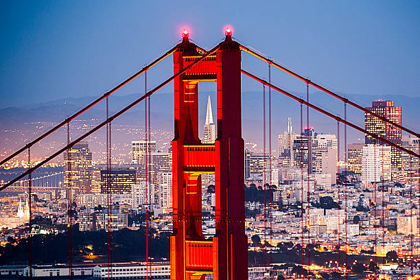Golden Gate Bridge with San Francisco Cityscape Close up stock photo