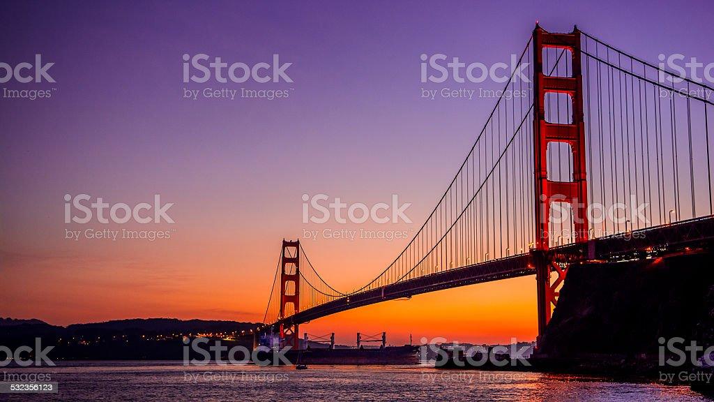 Golden Gate Bridge with Super Tanker stock photo