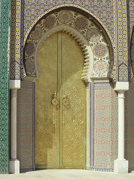 Golden Gate, Palace of Fez, Marocco stock photo