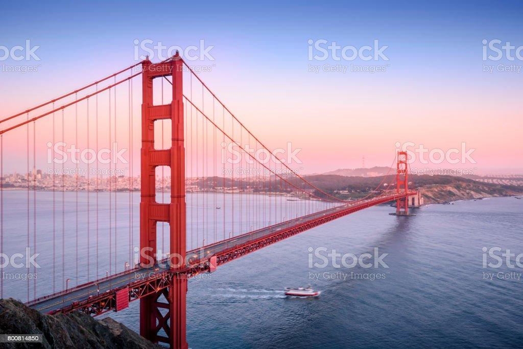 Golden Gate, San Francisco California at sunset stock photo