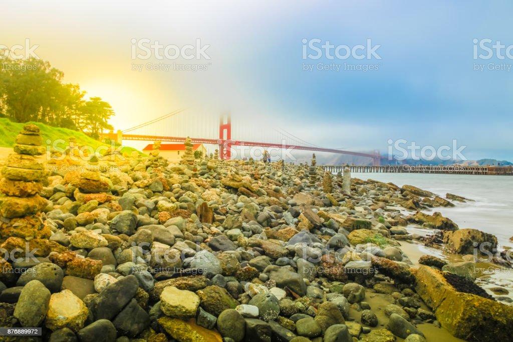 Golden Gate stone sculptures stock photo