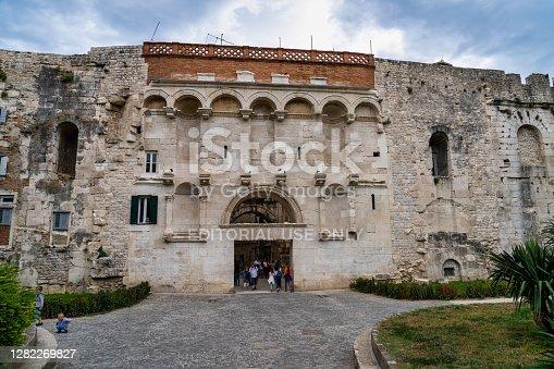 Split, Croatia - Jun 22, 2020: Golden Gate, the North Gate of Diocletian s Palace at Split in Croatia