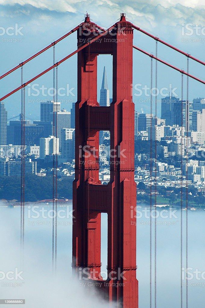 Golden Gate, Transamerica and Fog royalty-free stock photo