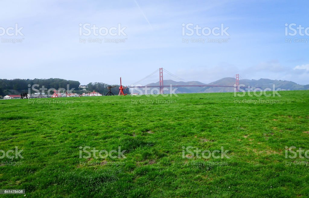 Golden Gate view from Crissy Field stock photo
