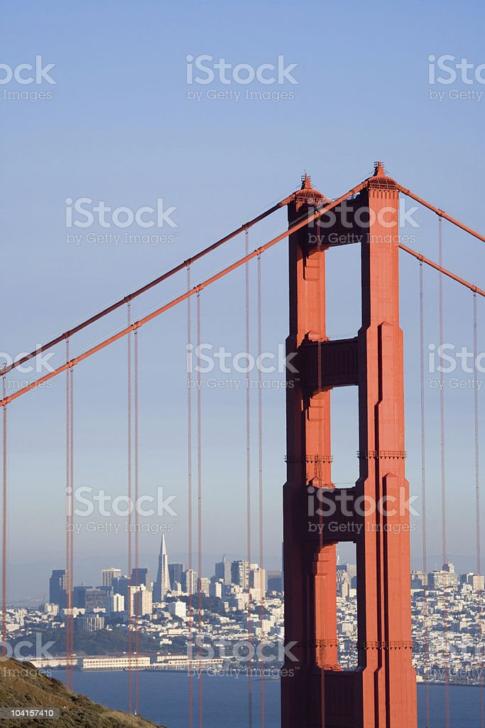 Golden Gate with City - Vertical royalty-free stock photo