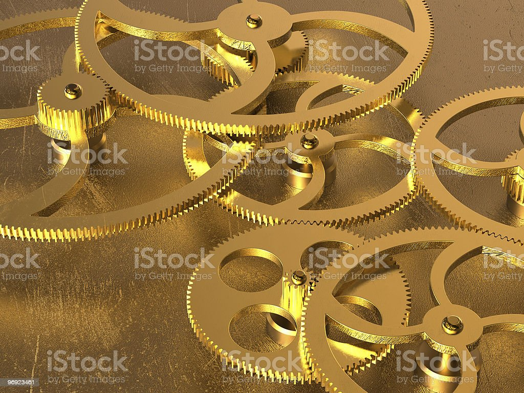 Golden gears background royalty-free stock photo