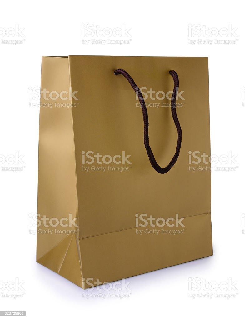 Golden gift bag stock photo